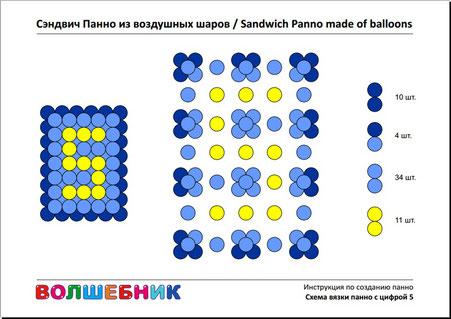 Схема вязки панно с цифрой 5