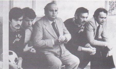 1975-76 La panchina e l'allenatore Pierino Cucchi
