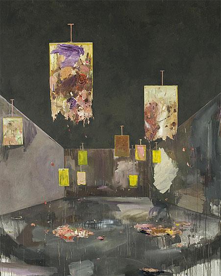 Martin Mohr  Schießstand  Acryl, Lack und Öl auf Baumwolle   250 x 200 cm