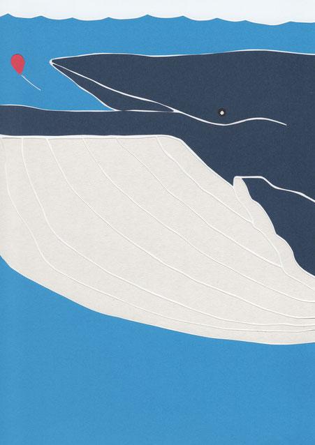 広島のイラストレーター、絵本作家、ミヤタタカシの切り絵イラスト「クジラに飲み込まれないように」