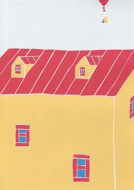 広島のイラストレーター、絵本作家、ミヤタタカシの切り絵イラスト「赤い屋根の家」