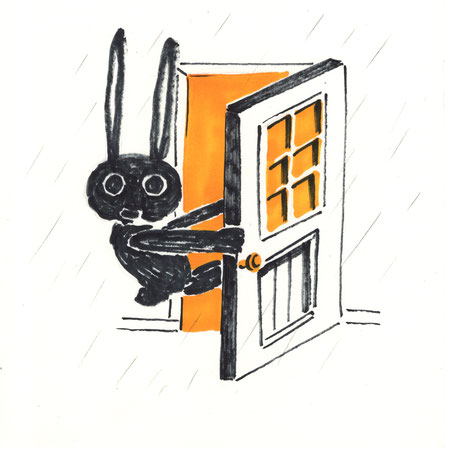 rabbit and door. illustration by Takashi Miyata ミヤタタカシ うさぎのイラスト
