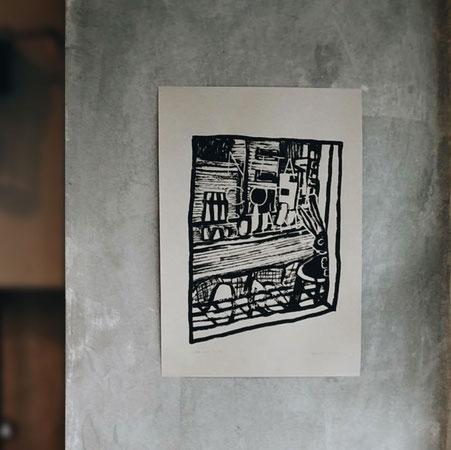 ミヤタタカシが描いたMOUNT COFFEE 周年記念のためのポストカー作品。作MOUNT COFFEE の関連店、NITTA COFFEE STAND の外観。