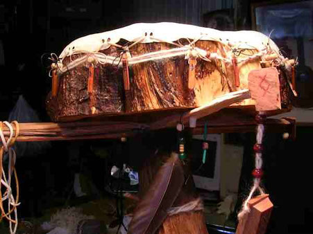 lightning-struck drum being born at Shaman Drums And More