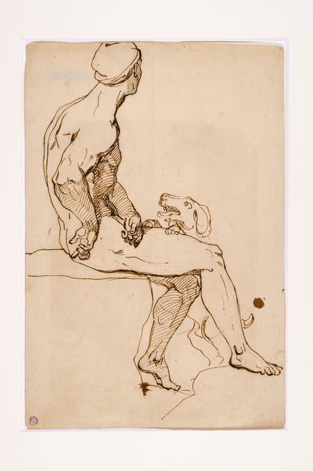 Théodore Géricault, Aktstudie, Feder über Bleistift, 1816/17, Privatbesitz