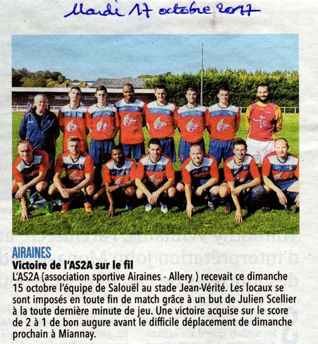 Article du Courrier Picard - Mardi 17 octobre 2017