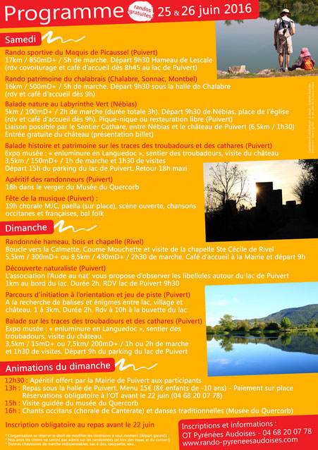Programme Fête de la Randonnée des Pyrénées Audoises 2016