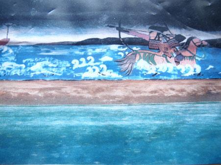 海中から馬上で弓を引く与一の姿が凛々しく描かれた安土絵