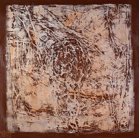 """""""Gefühl wie eine Rose""""; Acryl und Chinapaper auf Leinwand, Relief aus der Reihe """"Touchables""""; 90 x 90 cm"""