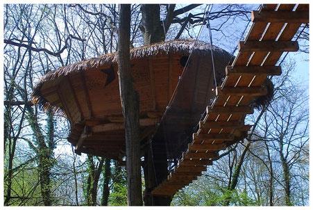 Normandie La Chaussée cabane dans les arbres à 8 m : accès par une passerelle de 15 m et échelle de 5 barreaux.
