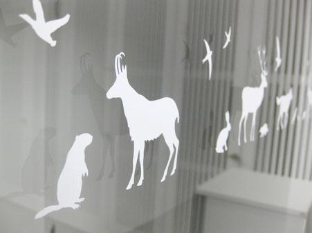 Tiersilhouetten auf Glasfront © Michael Stünzi