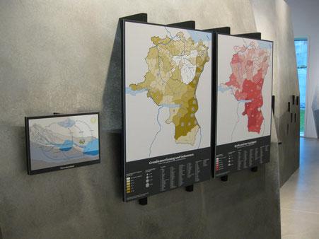 Schematische Darstellung zum Thema Grundwasserbildung und zwei Karten Wasserfassung © Michael Stünzi