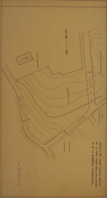 Plano de situación de la parcela en Parque Tahoro, Puerto de la Cruz, destinada a la Residencia Canaria de Cultura Internacional.