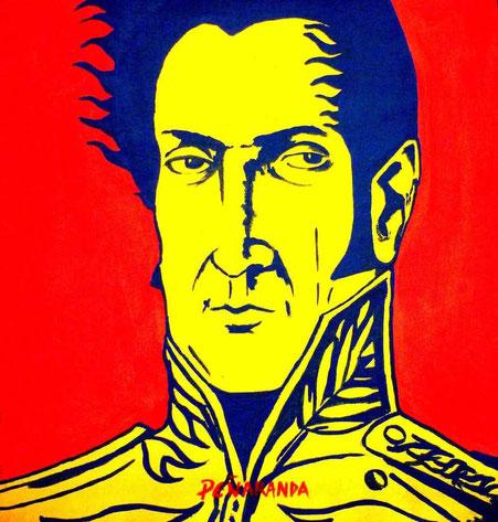 """Bolivar"" (2014) d'Edwin Peñaranda - Peinture sur toile - 30 cm x 27 cm - 850 €"