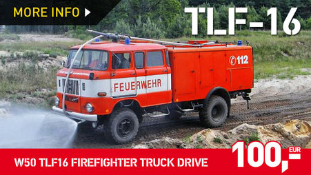 W50 TLF16 TRUCK DRIVE WITH A FIRE-FIGHTING EXERCISE