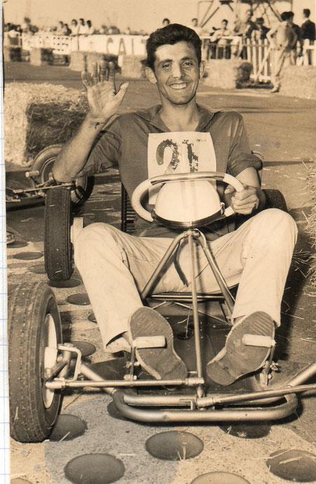 Gérard Souleyreau, au volant d'un kart.