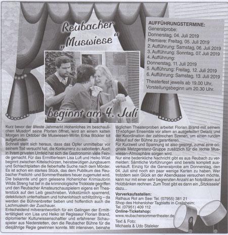 Proben- und Vorverkaufsbericht im Mitteilungsblatt Rot am See, erschienen am 28. Juni 2019