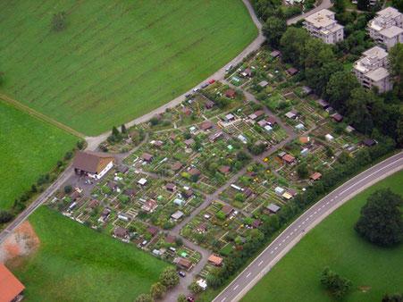 Luftansicht des Areals des Familiengartenvereins Vögeli