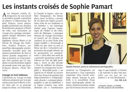 09/11/2016 : Les instants croisés de Sophie Pamart - La Nouvelle République Indre