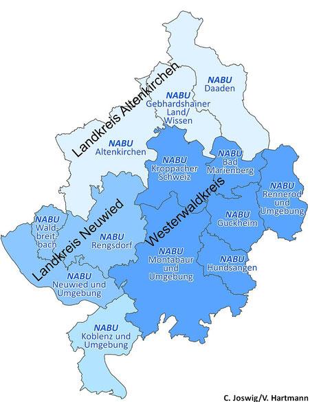 Lage der 13 NABU-Ortsgruppen
