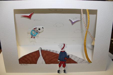 Carte en relief façon théâtre sur le thème des pirates réalisée d'après le tutoriel de l'illustratrice Cloé Perrotin