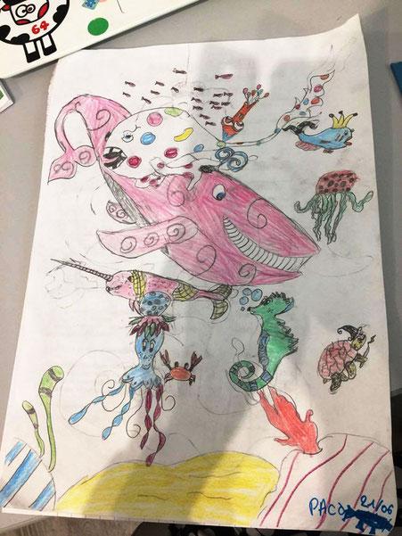 Dessin de Faribole et Mistigri et leurs amis de Paco, 9ans d'après le livre Faribole et Mistigri illustré par Cloé Perrotin paru chez YIL Edition