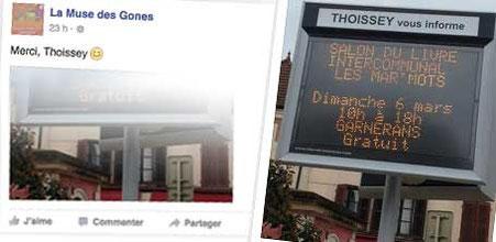 """Post Facebook de La Muse des Gones pour la publicité sur panneau lumineux de la Commune de Thoissey pour le salon du livre """"Les Mar'Mots en Val de Saône"""" 2016"""