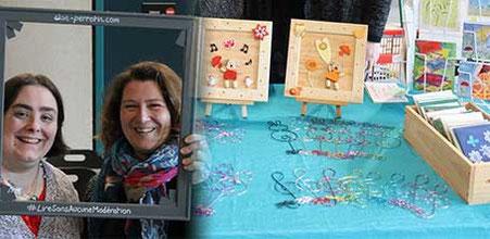 """La créatrice Blandine Brunet Gougeat de """"Bricoles et Malices"""" avec l'illustratrice Cloé Perrotin à la 6ème Caravane Littéraire d'Yzeurespace en 2016"""