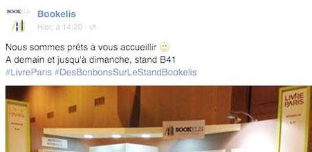 Post Facebook de Bookelis Éditions pour annoncer le Salon du Livre de Paris 2016 et leur stand