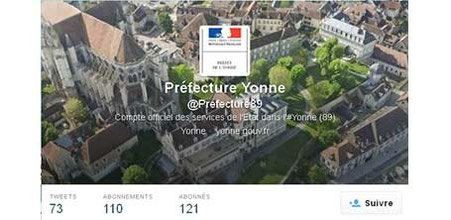 Bannière et propositions de posts Twitter pour la Préfecture de l'Yonne et le bureau du Préfet par Cloé Perrotin lors de son stage en 2014