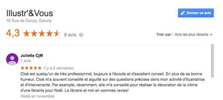 Un Google avis sur la fiche de la Boutique Illustr'&Vous de Cloé Perrotin par l'artiste Juliette Chaux-Mazé
