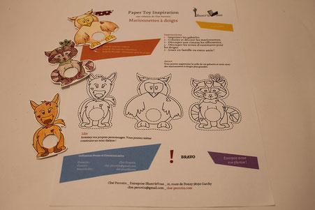Étape coloriage du DIY Papertoys de marionnettes de doigts d'animaux réalisées par l'illustratrice Cloé Perrotin