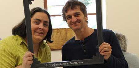 L'auteur Pascal Pinel avec l'illustratrice Cloé Perrotin à la Caravane Littéraire de Dompierre-sur-Besbre en 2016