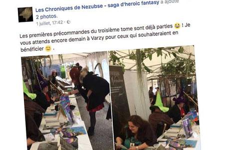 L'auteur Dzet et L'auteur Nicolas Baillencourt aux Festival Les Lithaniennes 2017 à côté de l'illustratrice Cloé Perrotin