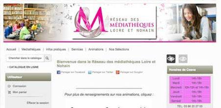 Capture d'écran du site du réseau des Médiathèques Loire et Nohain dans la Nièvre