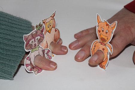 Marionnettes de doigts d'animaux réalisées par l'illustratrice Cloé Perrotin