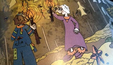Aperçu de dessins préhistoriques, d'un marin et d'une mamie sur une page de l'album jeunesse Le rhume de Liharina la dragonette