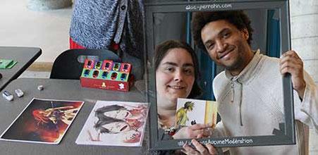 Josselin Coissard, artiste Mangaka avec l'illustratrice Cloé Perrotin à la 6ème Caravane Littéraire d'Yzeurespace en 2016