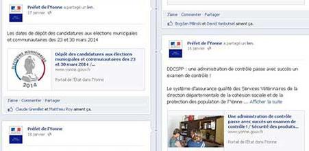 Visuels et propositions de posts Facebook pour la Préfecture de l'Yonne et le bureau du Préfet par Cloé Perrotin lors de son stage en 2014