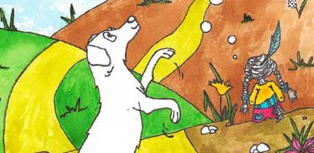 """Détail d'une illustration réalisée par Cloé Perrotin pour le projet du coeur """"Des dessins et des chiens""""."""