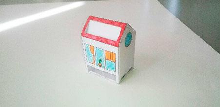 Box papercraft façon Tiny house réalisée d'après le tutoriel de l'illustratrice Cloé Perrotin