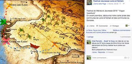 Capture d'écran Facebook d'une carte aux Trésors réalisée par les organisateurs du Festival Jeunesse Loire et Nohain 2016