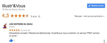 Un Google avis sur la fiche de la Boutique Illustr'&Vous de Cloé Perrotin par l'éditrice des Éditions du Dahu