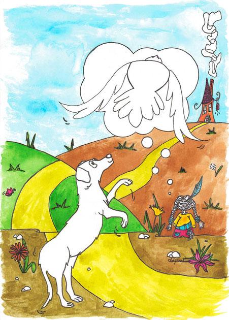 Illustration pour Handichiens réalisée par l'illustratrice Cloé Perrotin