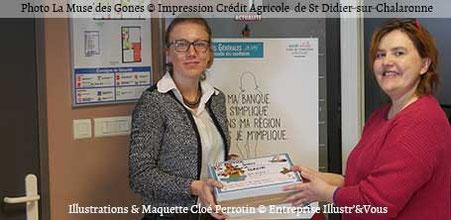 """Le Crédit Agricole de Saint-Didier-sur-Chalaronne remet à """"La Muse des Gones"""" les surprises illustrées réalisées par Cloé Perrotin"""