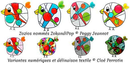 Zozios nommés ZokandiPop inventés par l'artiste Peggy Jeannot et valorisés par Cloé Perrotin en valorisation numérique et textile