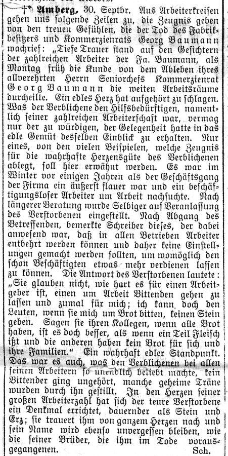 1913 Nachruf in der Zeitung