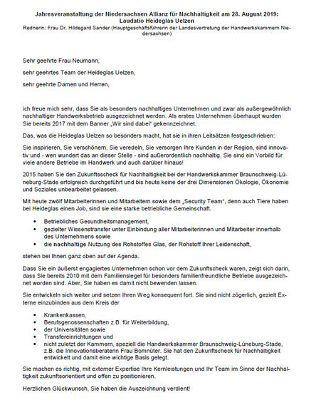 Laudatio von Frau Dr. Hildegard Sander (Hauptgeschäftsführerin der Landesvertretung der Handwerkskammern Niedersachsen)