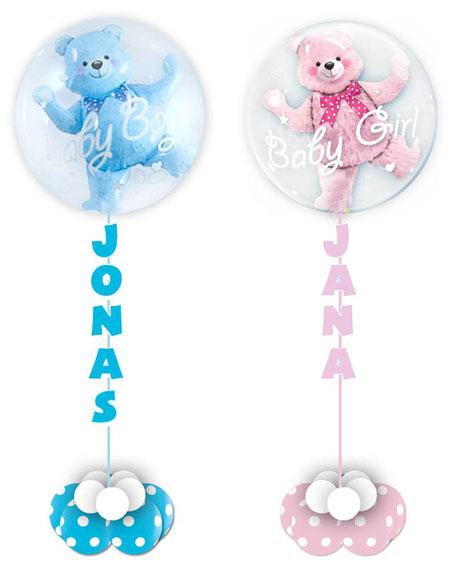 Bubble Luftballon Ballon Heliumballon Baby Geburt Mädchen Junge Boy Girl blau rosa personalisiert mit Namen des Babys individualisiert Helium Heliumballon Teddy Teddybär Bär 3D gefüllt Taufe Babyparty Babyshower Party