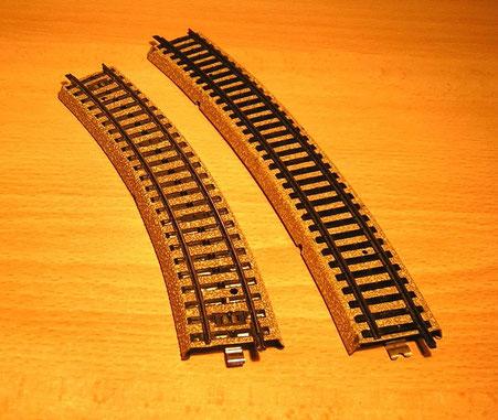 Vergleich Modellgleis 3900 und M-Gleis 5100.